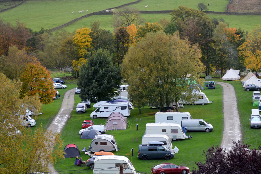 Camping North Yorkshire Bolton Abbey Aerial View