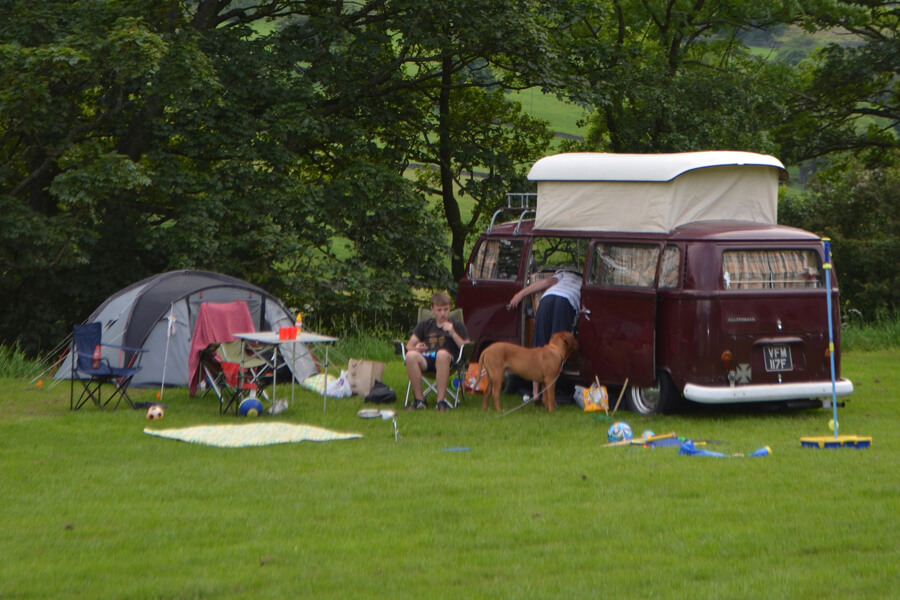 Camping Bolton Abbey River Field Family and Dog