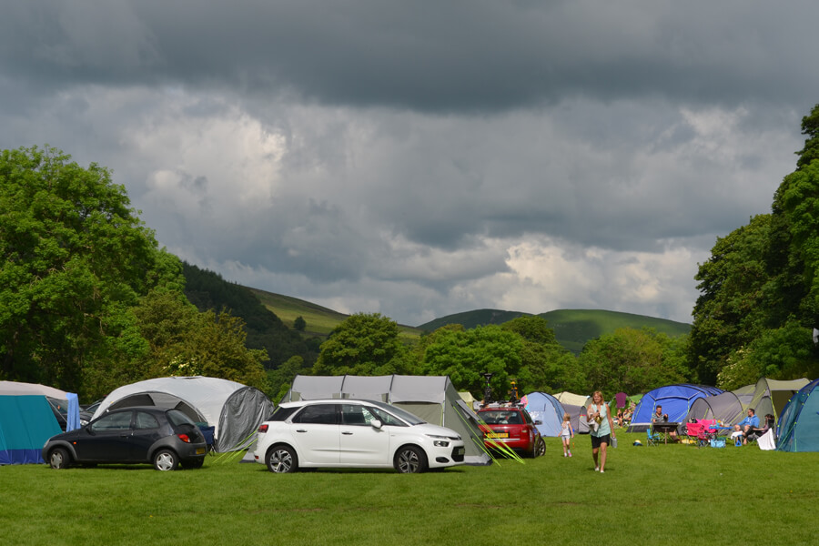 Camping Bolton Abbey River Field Tents and Cars